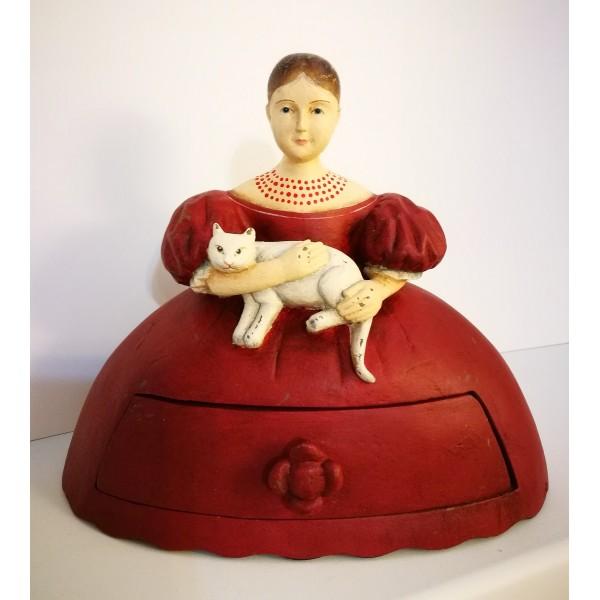 Шкатулка Девушка с котом, с ...